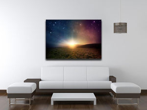 Sunrise with stars and galaxy in night Canvas Print or Poster - Canvas Art Rocks - 4