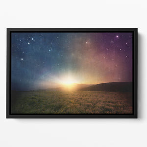 Sunrise with stars and galaxy in night Floating Framed Canvas