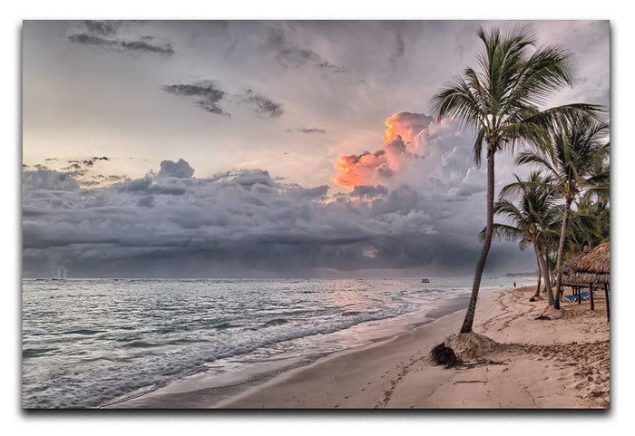 Sunset Beach Palm Tree Canvas Print or Poster