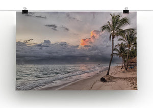 Sunset Beach Palm Tree Print - Canvas Art Rocks - 2