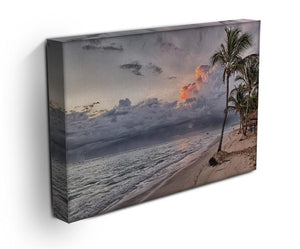 Sunset Beach Palm Tree Print - Canvas Art Rocks - 3