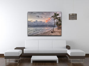 Sunset Beach Palm Tree Print - Canvas Art Rocks - 4