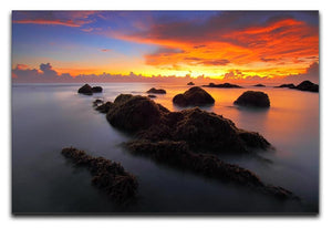 Misty Sunset Print - Canvas Art Rocks - 1