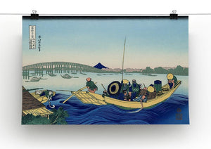Sunset across the Ryogoku bridge by Hokusai Canvas Print or Poster - Canvas Art Rocks - 2