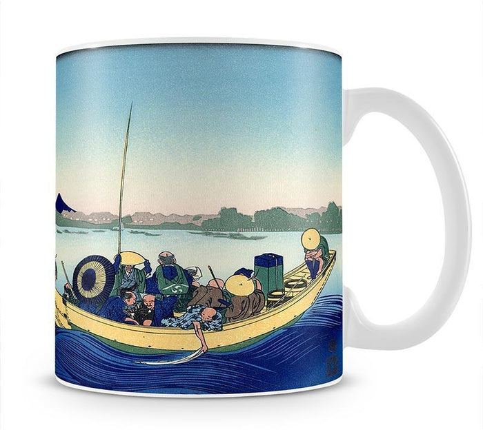 Sunset across the Ryogoku bridge by Hokusai Mug