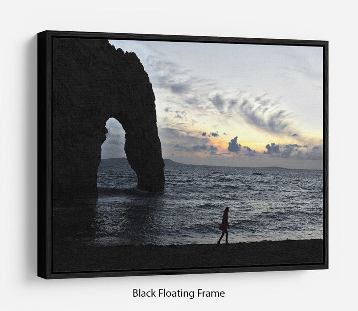 Sunset at Durdle Door Floating Frame Canvas