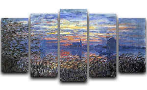 Sunset on the Seine by Monet 5 Split Panel Canvas  - Canvas Art Rocks - 1