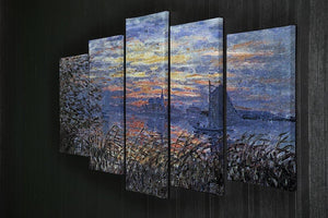 Sunset on the Seine by Monet 5 Split Panel Canvas - Canvas Art Rocks - 2
