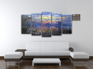 Sunset on the Seine by Monet 5 Split Panel Canvas - Canvas Art Rocks - 3