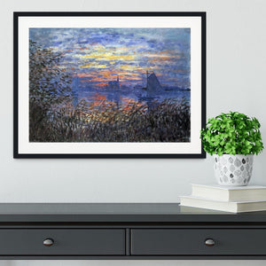 Sunset on the Seine by Monet Framed Print - Canvas Art Rocks - 1