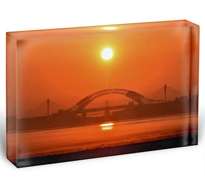 Sunset over the Mersey Acrylic Block - Canvas Art Rocks - 1