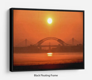 Sunset over the Mersey Floating Frame Canvas - Canvas Art Rocks - 1