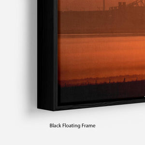 Sunset over the Mersey Floating Frame Canvas - Canvas Art Rocks - 2