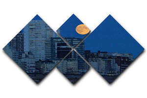 Super moon over Brighton 4 Square Multi Panel Canvas - Canvas Art Rocks - 1