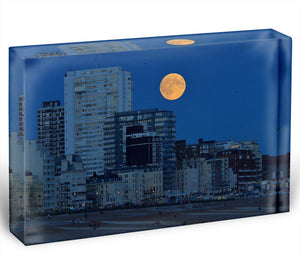 Super moon over Brighton Acrylic Block - Canvas Art Rocks - 1