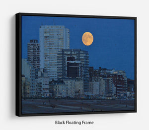 Super moon over Brighton Floating Frame Canvas - Canvas Art Rocks - 1