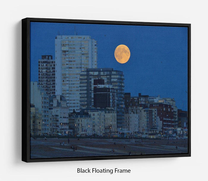 Super moon over Brighton Floating Frame Canvas