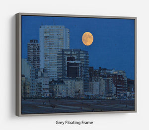 Super moon over Brighton Floating Frame Canvas - Canvas Art Rocks - 3