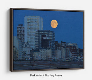 Super moon over Brighton Floating Frame Canvas - Canvas Art Rocks - 5