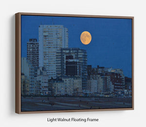 Super moon over Brighton Floating Frame Canvas - Canvas Art Rocks 7