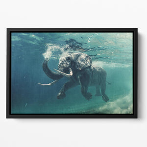 Swimming Elephant Underwater Floating Framed Canvas - Canvas Art Rocks - 2