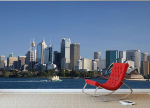 Sydney Cityscape Over Blue Sky Wall Mural Wallpaper - Canvas Art Rocks - 2