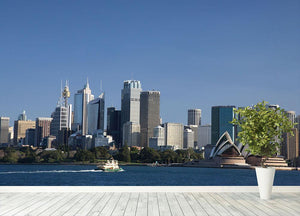 Sydney Cityscape Over Blue Sky Wall Mural Wallpaper - Canvas Art Rocks - 4