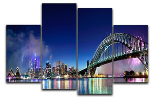 Sydney Harbour NYE Fireworks 4 Split Panel Canvas  - Canvas Art Rocks - 1