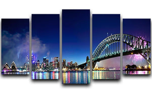 Sydney Harbour NYE Fireworks 5 Split Panel Canvas  - Canvas Art Rocks - 1