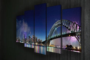 Sydney Harbour NYE Fireworks 5 Split Panel Canvas  - Canvas Art Rocks - 2