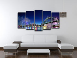 Sydney Harbour NYE Fireworks 5 Split Panel Canvas  - Canvas Art Rocks - 3