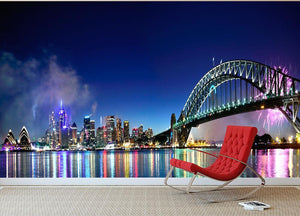 Sydney Harbour NYE Fireworks Wall Mural Wallpaper - Canvas Art Rocks - 2
