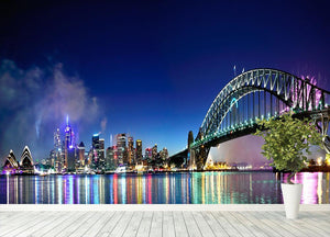 Sydney Harbour NYE Fireworks Wall Mural Wallpaper - Canvas Art Rocks - 4