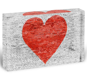 Symbol of love painted on white brick Acrylic Block - Canvas Art Rocks - 1