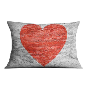 Symbol of love painted on white brick Cushion - Canvas Art Rocks - 4