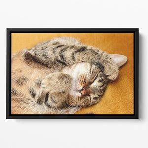 Tabby sweet sleeping on the bed Floating Framed Canvas - Canvas Art Rocks - 2