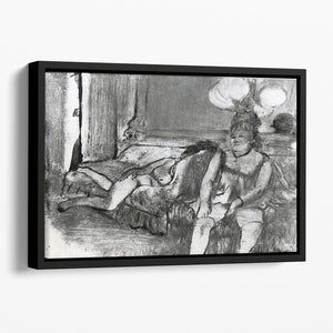 Taking a rest by Degas Floating Framed Canvas