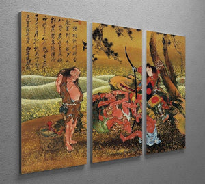 Tametomo and the demons by Hokusai 3 Split Panel Canvas Print - Canvas Art Rocks - 2
