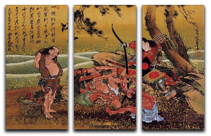Tametomo on Demon island by Hokusai 3 Split Panel Canvas Print