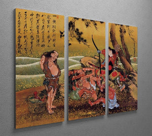 Tametomo on Demon island by Hokusai 3 Split Panel Canvas Print - Canvas Art Rocks - 2