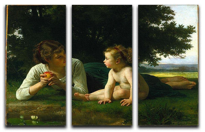 Temptation By Bouguereau 3 Split Panel Canvas Print