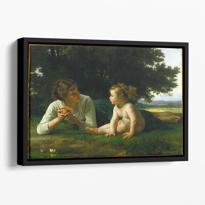 Temptation By Bouguereau Floating Framed Canvas