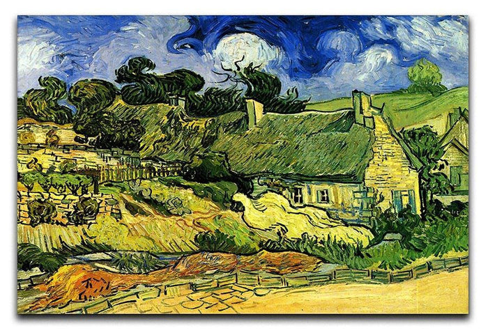 Thatched Cottages at Cordeville by Van Gogh Canvas Print or Poster