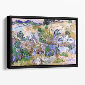 Thatched Cottages by a Hill by Van Gogh Floating Framed Canvas