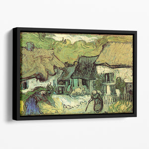 Thatched Cottages in Jorgus by Van Gogh Floating Framed Canvas