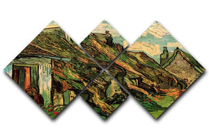 Thatched Sandstone Cottages in Chaponval by Van Gogh 4 Square Multi Panel Canvas  - Canvas Art Rocks - 1