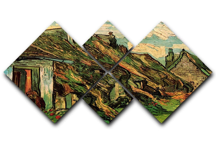 Thatched Sandstone Cottages in Chaponval by Van Gogh 4 Square Multi Panel Canvas