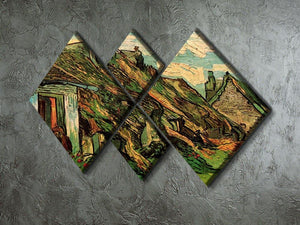 Thatched Sandstone Cottages in Chaponval by Van Gogh 4 Square Multi Panel Canvas - Canvas Art Rocks - 2