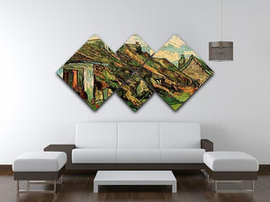 Thatched Sandstone Cottages in Chaponval by Van Gogh 4 Square Multi Panel Canvas - Canvas Art Rocks - 3