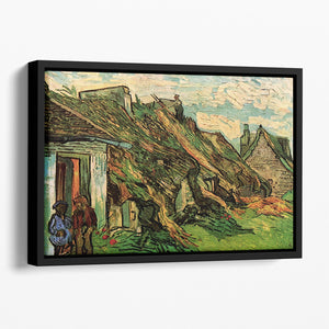 Thatched Sandstone Cottages in Chaponval by Van Gogh Floating Framed Canvas